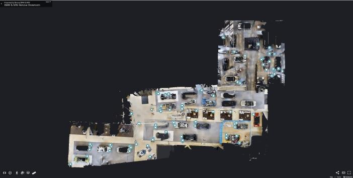 Floor plan view of a car dealership 3D Virtual Business Tour