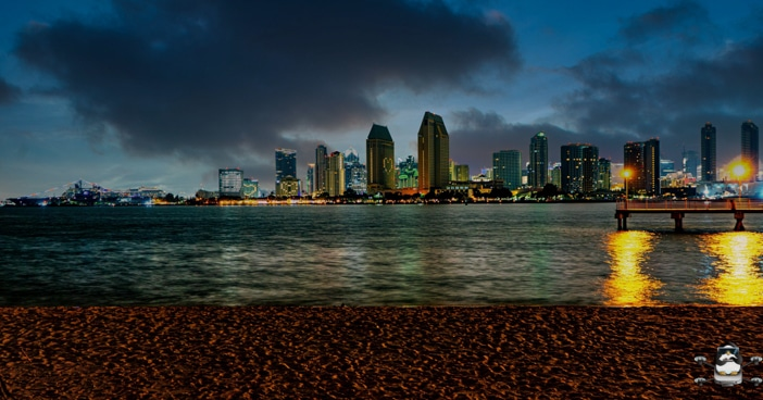 San Diego Night Skyline from Coronado