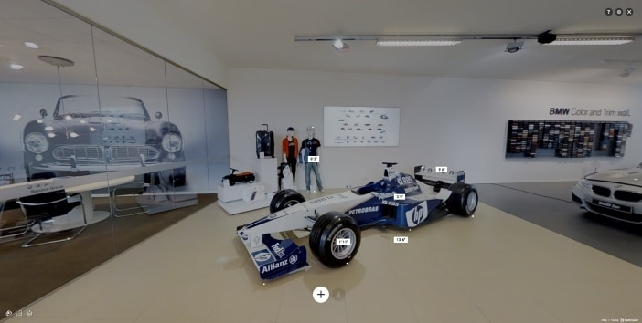 Business 3D Tour measurement mode in car dealership in San Diego