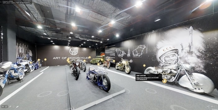 Business 3D Virtual Tour of a motorcycle gallery in San Diego